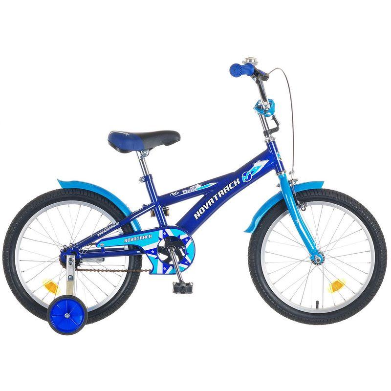 """Велосипед Novatrack 18"""" Х44125 Делфи F-тип руч,нож.тормоз,корот.крыл. сине-голубой"""