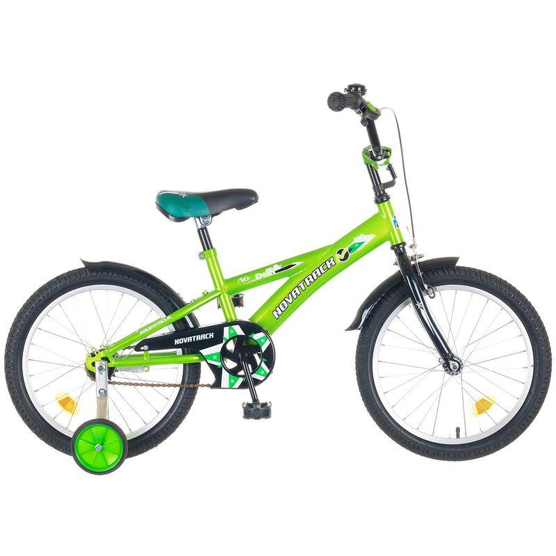 """Велосипед Novatrack 18"""" Х44126 Делфи F-тип руч,нож.тормоз,корот.крыл. салат-черный"""
