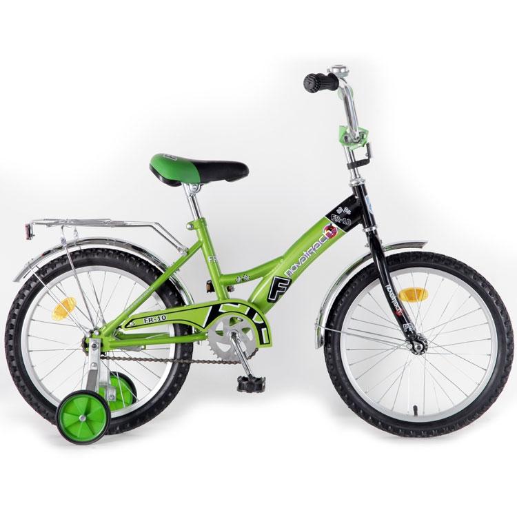 "Велосипед Novatrack 18"" Х44847 FR-10-тип нож.тормоз,хром.крыл,багажник зеленый"