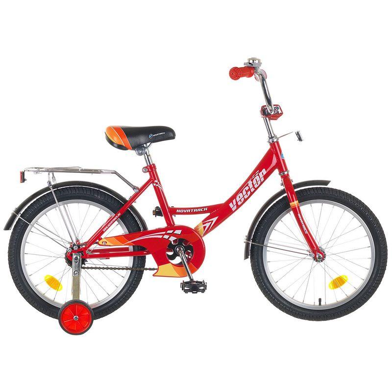 """Велосипед Novatrack 18"""" Х44851 Вектор К-тип нож.тормоз,хром.багажник красный"""