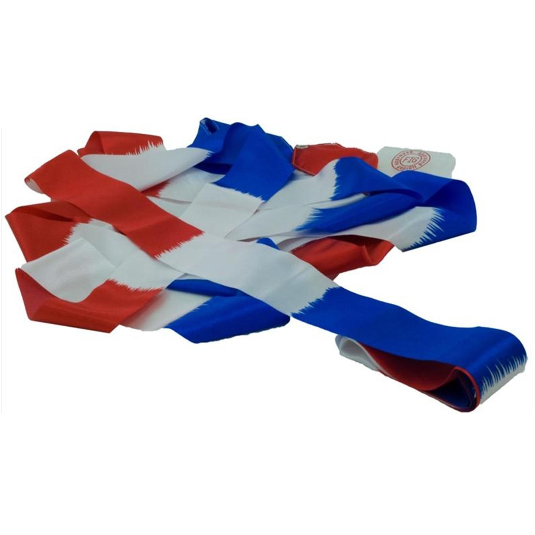 Лента гимнастическая без палочки АВ235-1-R/W/BE сине/бело/красная