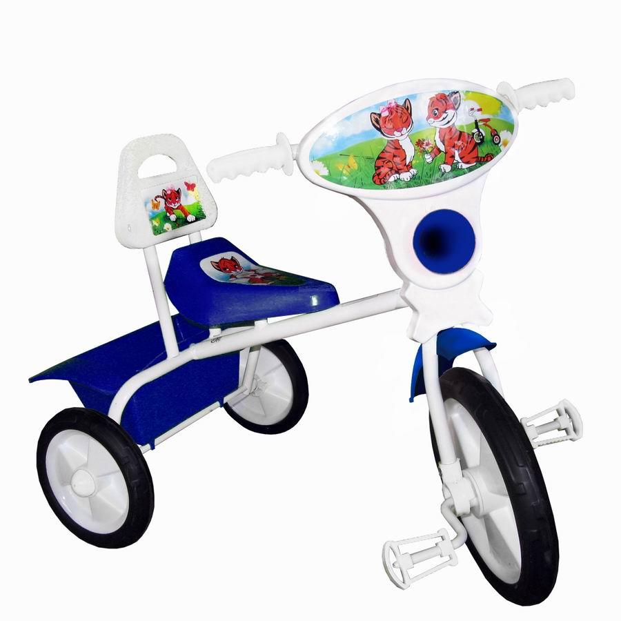 """Велосипед """"Малыш"""" мод. 06П синий (пласт.кол., со спинкой и кузовком) РАСПРОДАЖА!"""