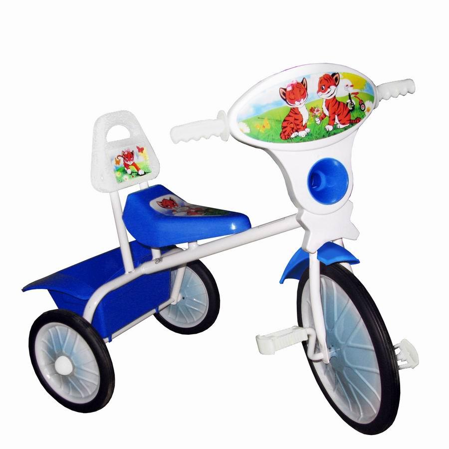 """Велосипед """"Малыш"""" мод. 06 синий (метал.кол., со спинкой и кузовком) РАСПРОДАЖА!"""