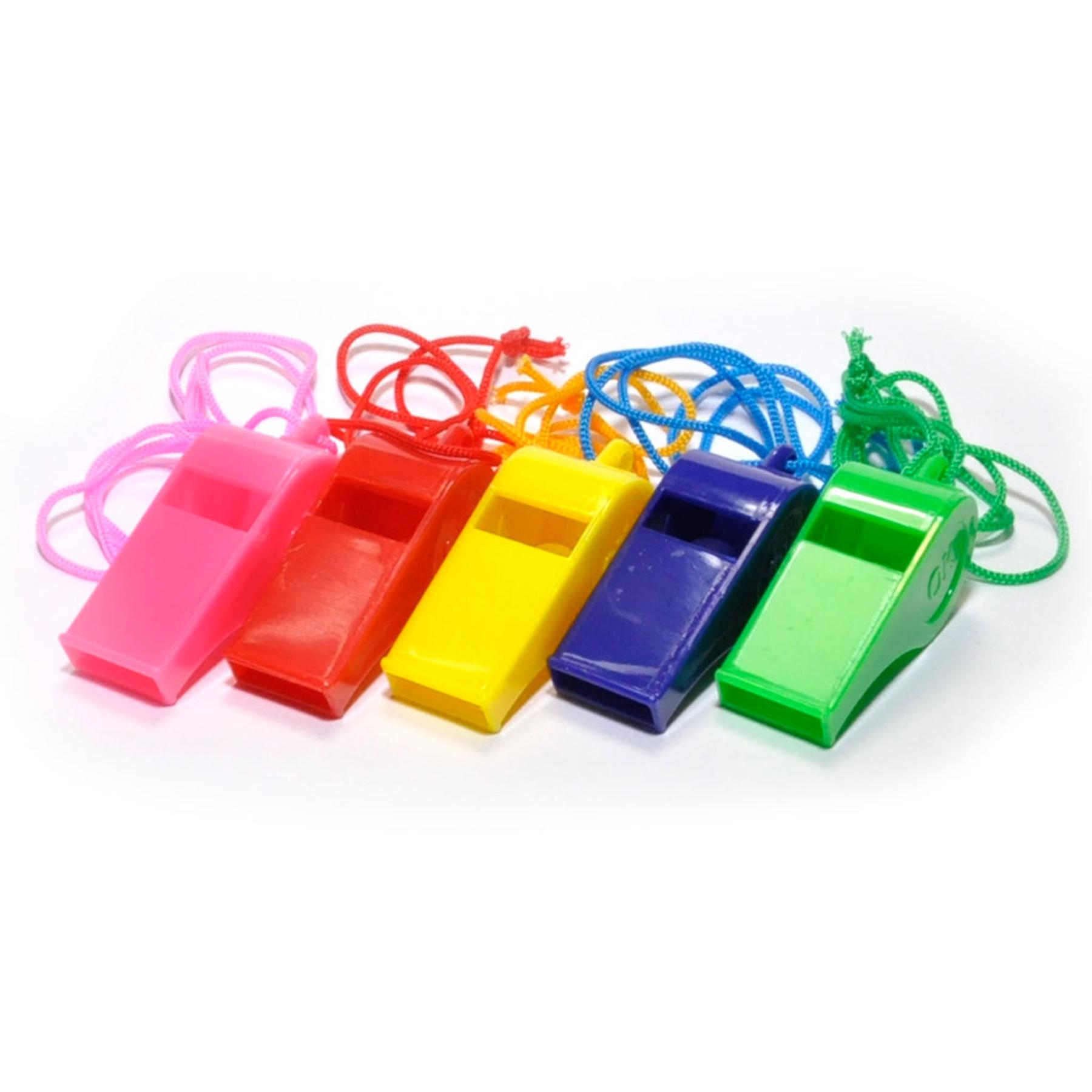 Свисток пластмассовый цветной со шнурком  19040