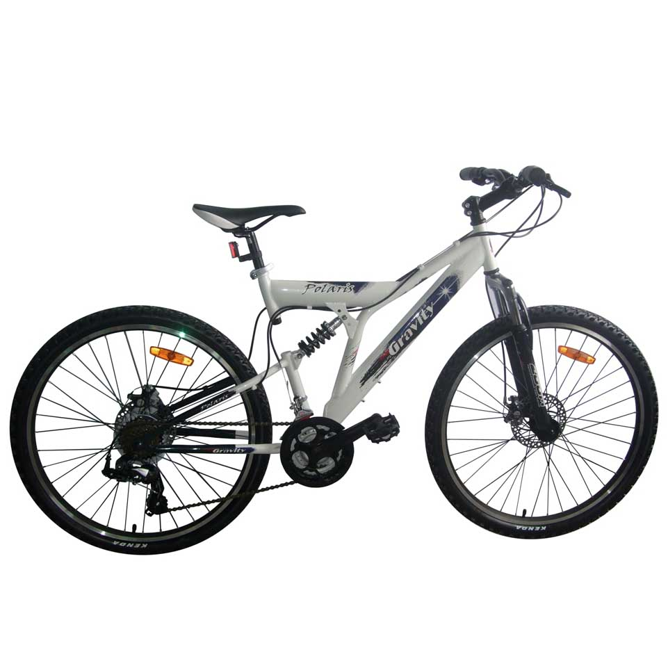 """Велосипед Gravity 26"""" POLARIS двухподвес 21 скор. стал.рама 18,5"""" сине-белый (7207)"""