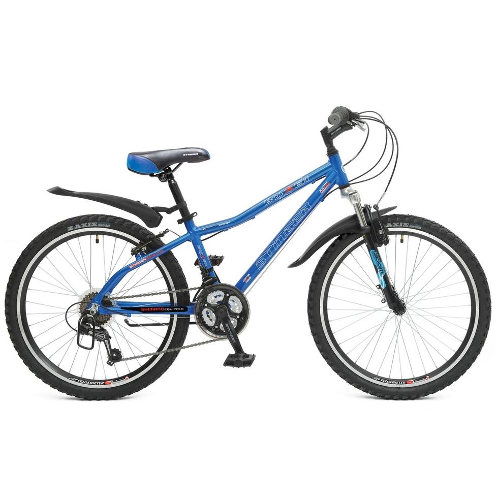 "Велосипед Stinger 24"" Х43965 Боксер алюм. 18ск. рама 12,5д. дв.алюм.обода синий"