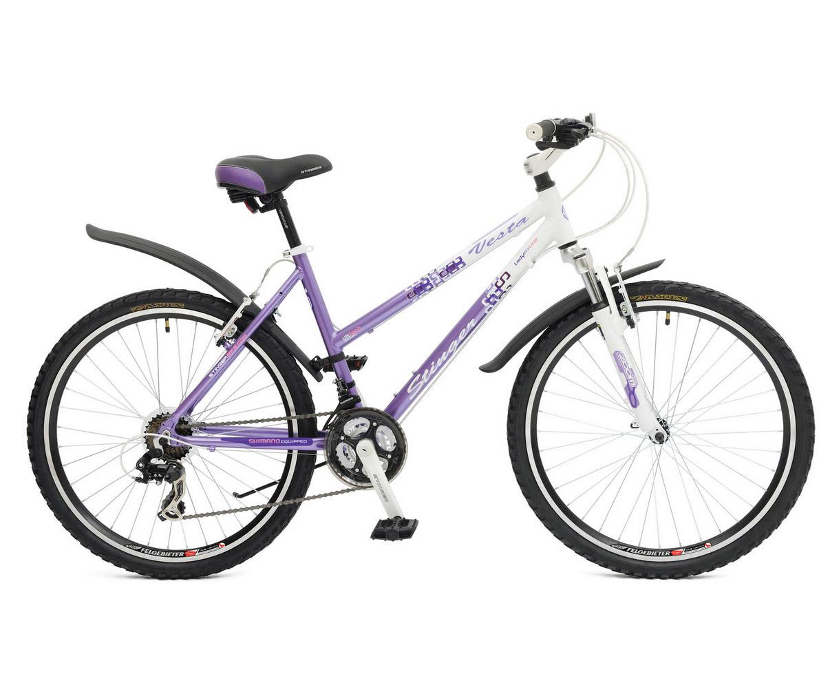 "Велосипед Stinger 26"" Х43967 Веста женский алюм.21ск. рама 16д. бело-сиреневый"