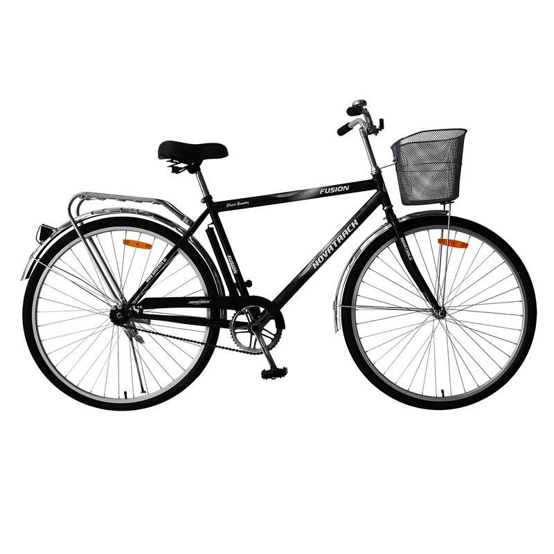 """Велосипед Novatrack 28"""" Х63237 Fusion дорожный перед.корз. синий/черный"""