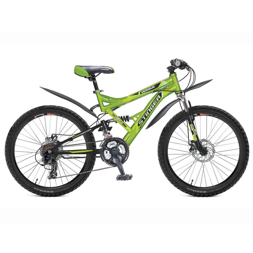 "Велосипед Stinger 24"" Х60857 Версус D аморт.21ск. рама 16.5д. зелено-черный"