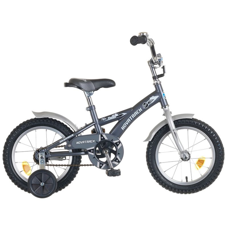 "Велосипед Novatrack 14"" Х44107 Дельфи А-тип кор.крыл. серо-серебристый"