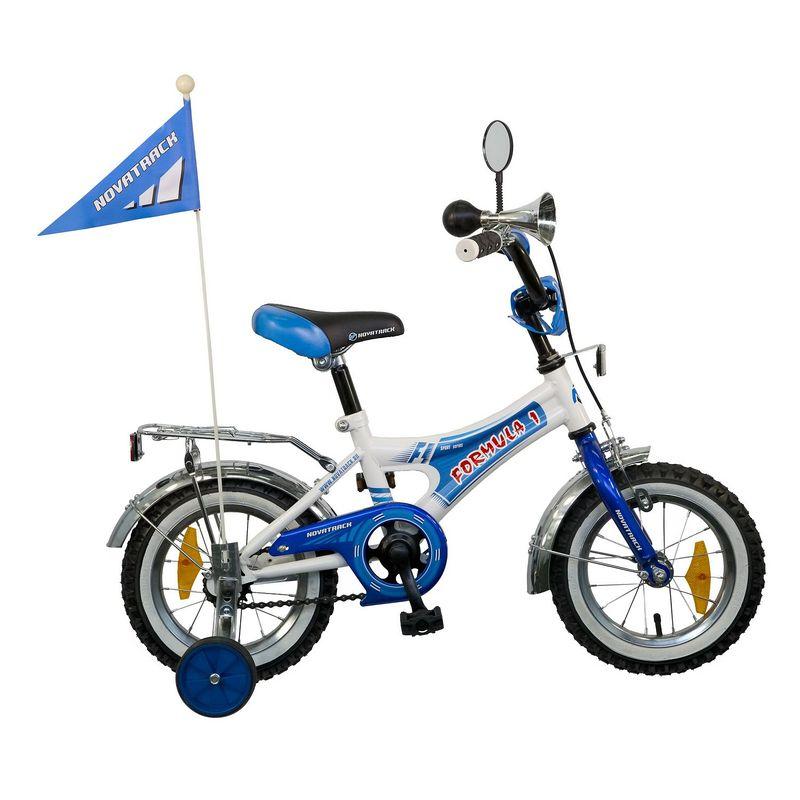 "Велосипед Novatrack 12"" Х21005 Формула1 А-тип руч,ножн.торм, хром.крыл,багаж сине-белый РАСПРОДАЖА!"