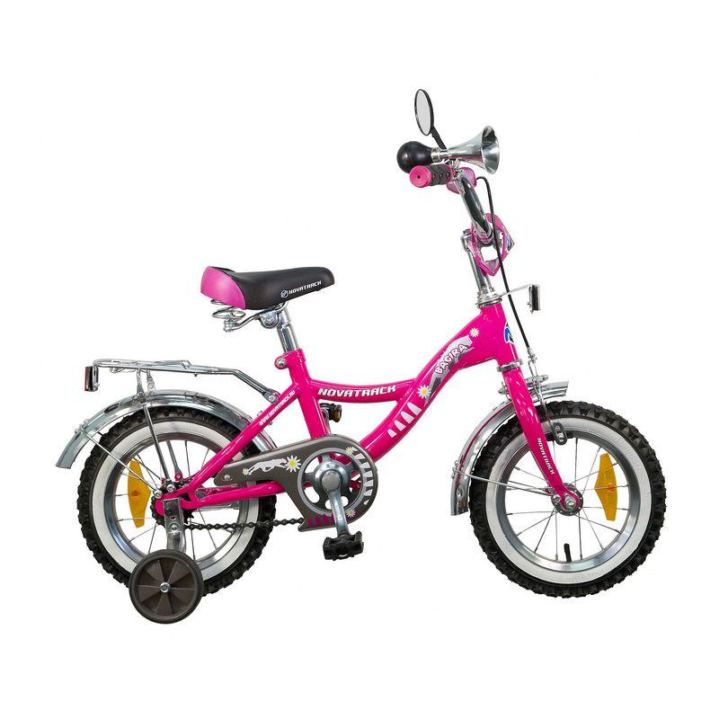 "Велосипед Novatrack 12"" Х21008 Багира А-тип руч,ножн.торм, хром.крыл,багаж,зерк розовый РАСПРОДАЖА!"