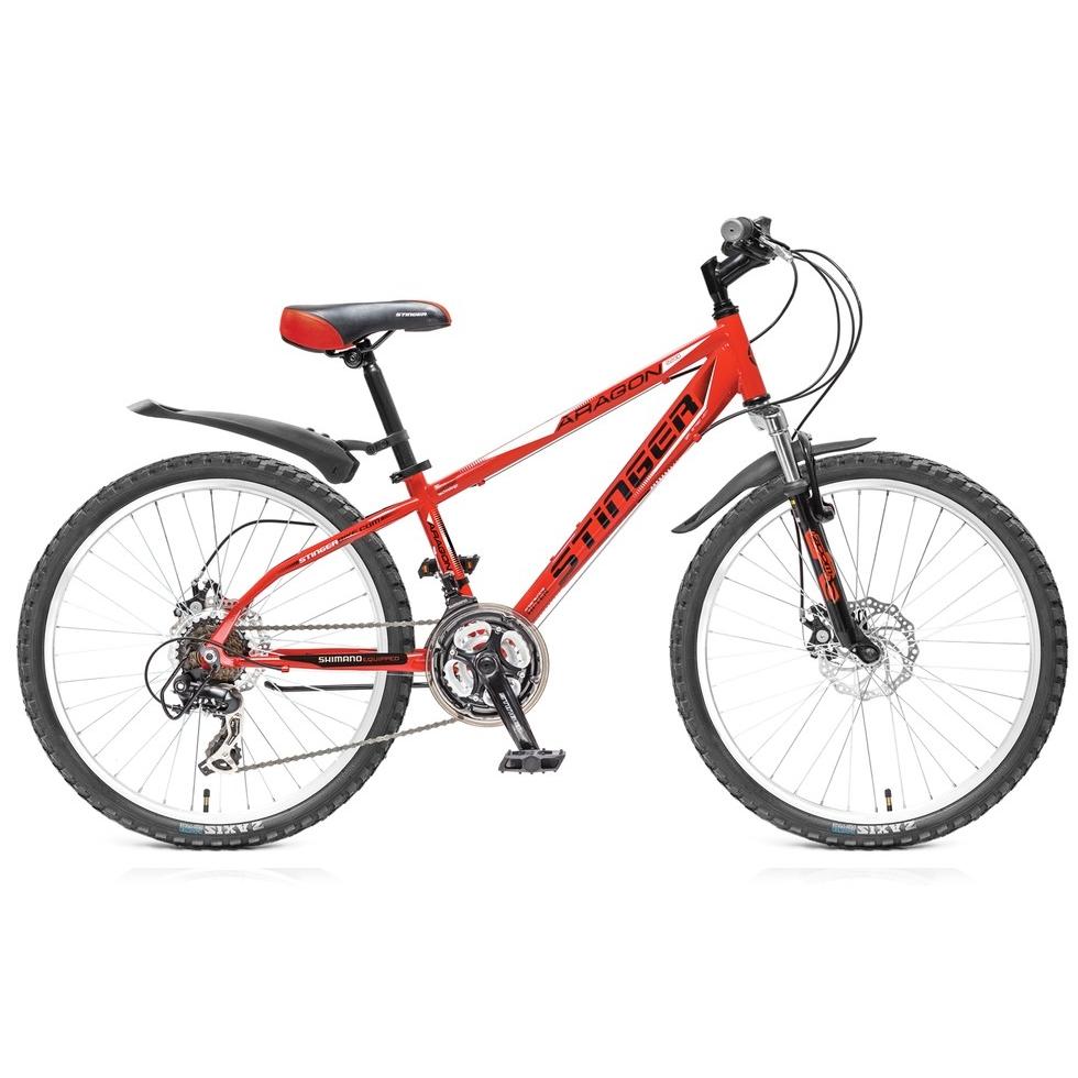 """Велосипед Stinger 24"""" Х43958 Арагон 220D хардт. 18ск. стал.рама 14д. красно-черный"""
