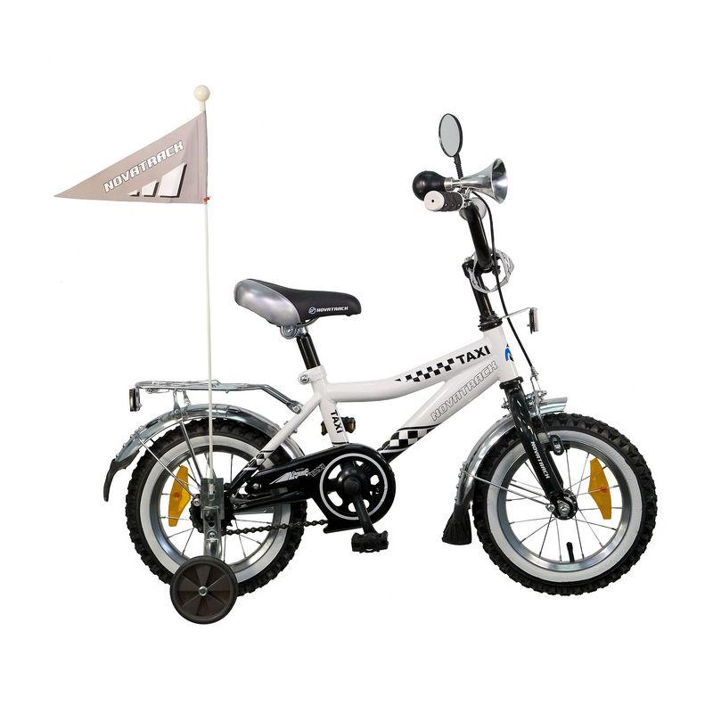 "Велосипед Novatrack 12"" Х21009 Такси R-тип руч,ножн.торм, хром.крыл,багаж,зерк черн-белый АКЦИЯ!!!"