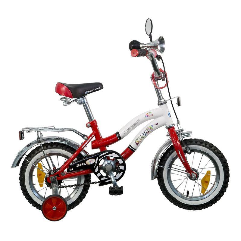 "Велосипед Novatrack 12"" Х21012 Зебра Z-тип руч,ножн.торм, хром.крыл,багаж,зерк крас-белый АКЦИЯ!!!"