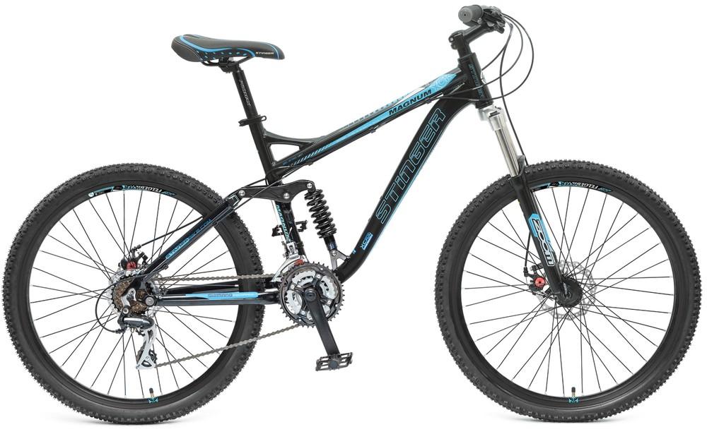 "Велосипед Stinger 26"" Х44002 Магнум алюм.амор. 21ск. рама 18,3д. диск.торм. черно-голубой"