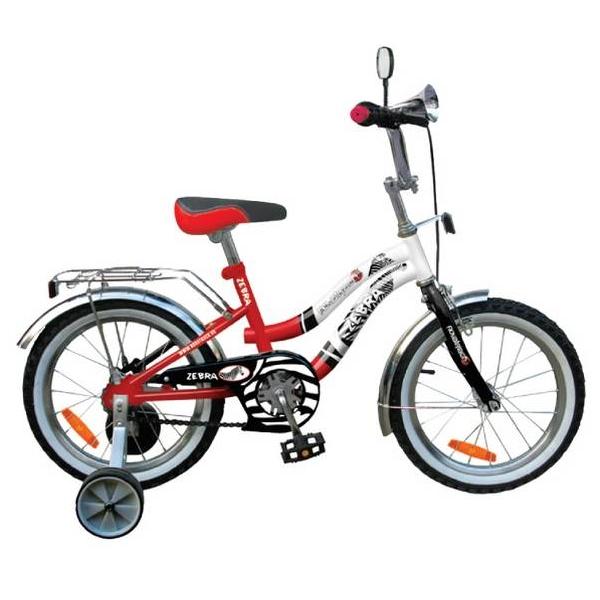 """Велосипед Novatrack 16"""" Х21020 Зебра Z-тип ножной,руч торм, хром.крыл,багаж красн-белый"""