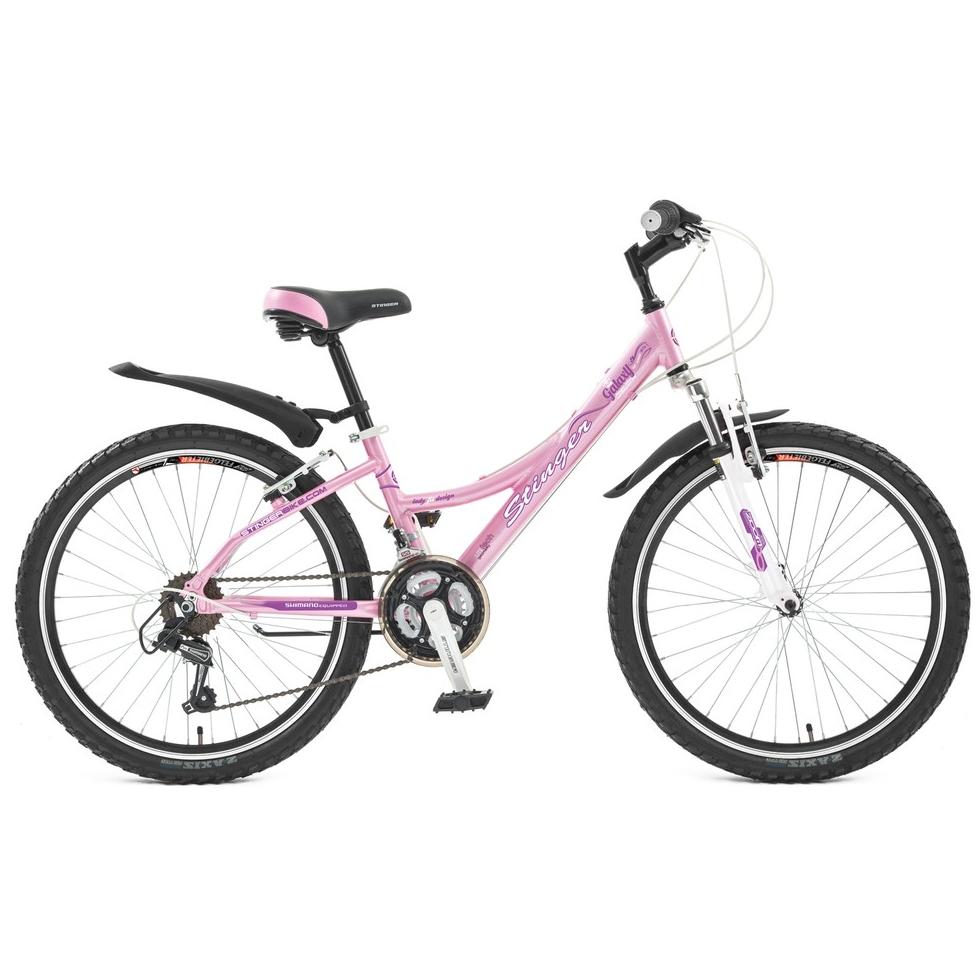 """Велосипед Stinger 24"""" Х43966 Галакси женский алюм.18ск. рама 12,5д.дв.алюм.обода розовый"""