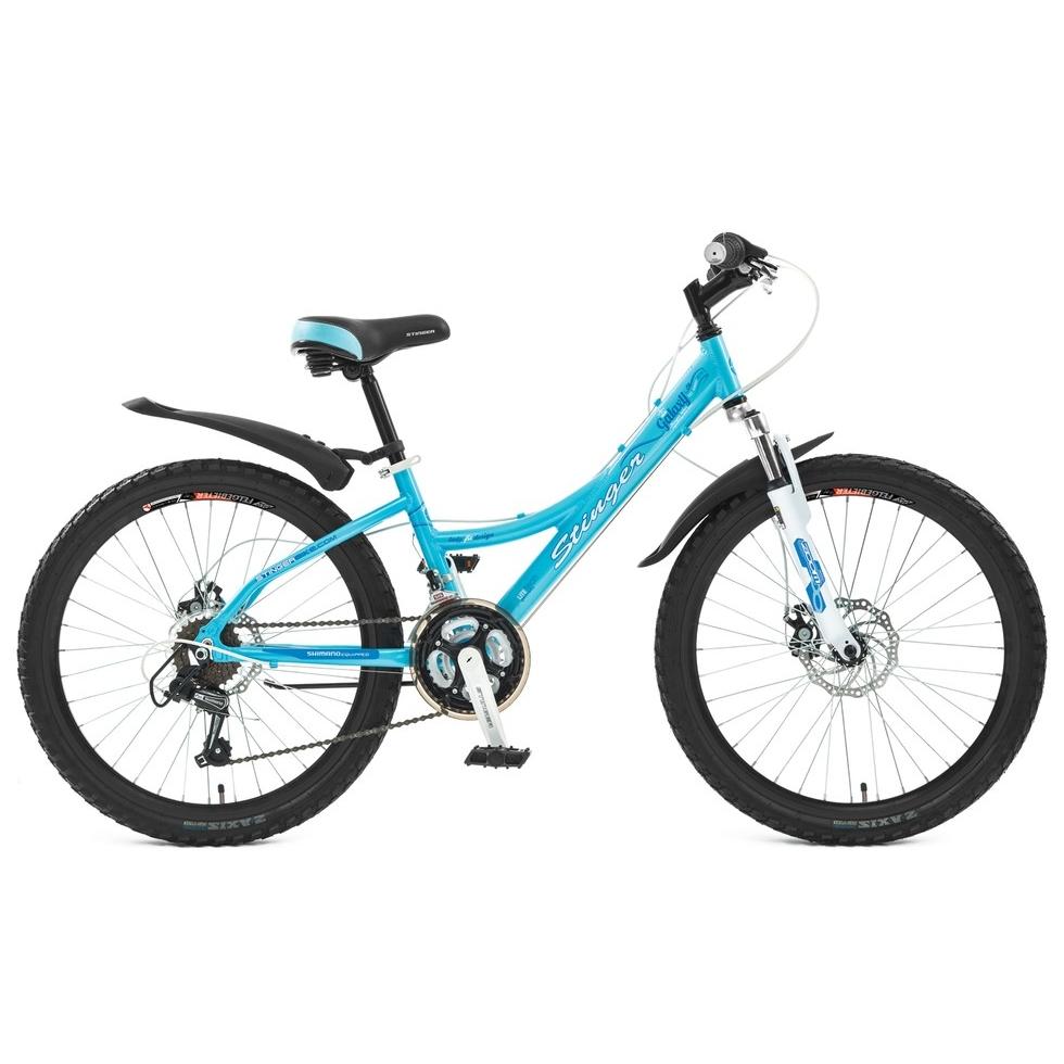 """Велосипед Stinger 24"""" Х44844 Галакси женский алюм. 18ск. рама 12,5д. диск.торм. голубой"""
