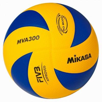 Мяч в/б Микаса MVA 300 офиц игров FIVB,мяч Олим 2008,новый матер <dimple>,желто-синий