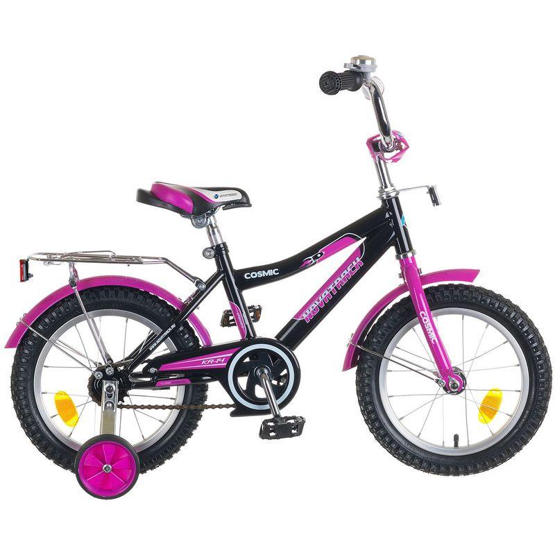 """Велосипед Novatrack 14"""" Х50271 Космик ножн.торм, хром.багаж. черный"""