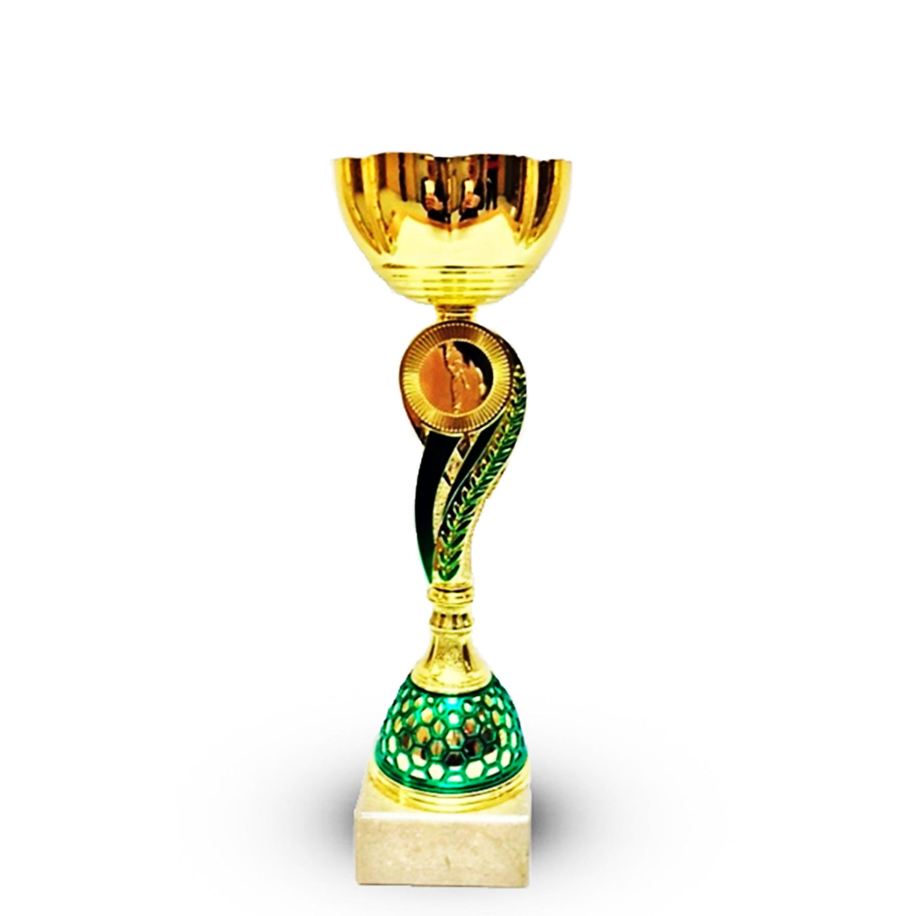 Кубок 519В чаша золото с зеленой ножкой h-27