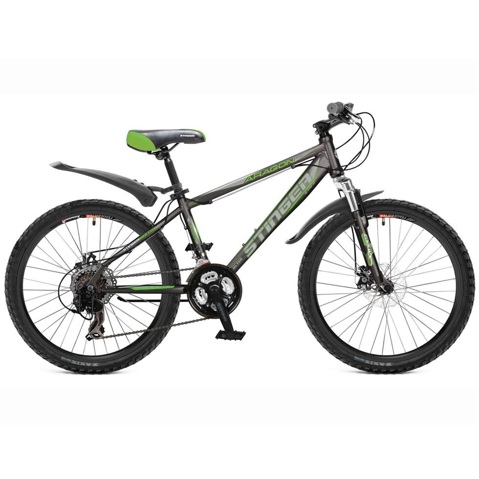 """Велосипед Stinger 24"""" Х60843 Арагон 250D хардт. 21ск. стал.рама 14д. серо-зеленый"""