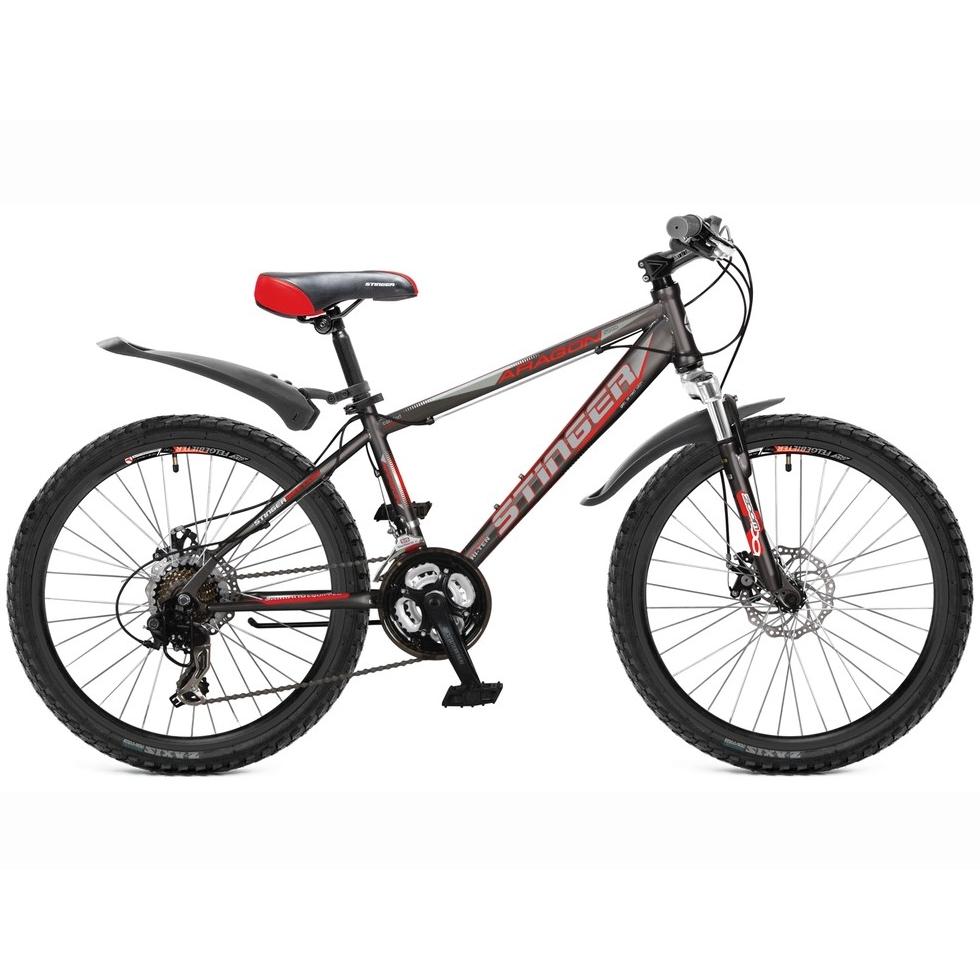 """Велосипед Stinger 24"""" Х60841 Арагон 250D хардт. 21ск. стал.рама 14д. серо-красный"""