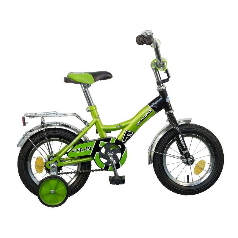 "Велосипед Novatrack 12"" Х44978 FR-10-тип нож.торм, хром.крыл,багаж зеленый АКЦИЯ!!!"