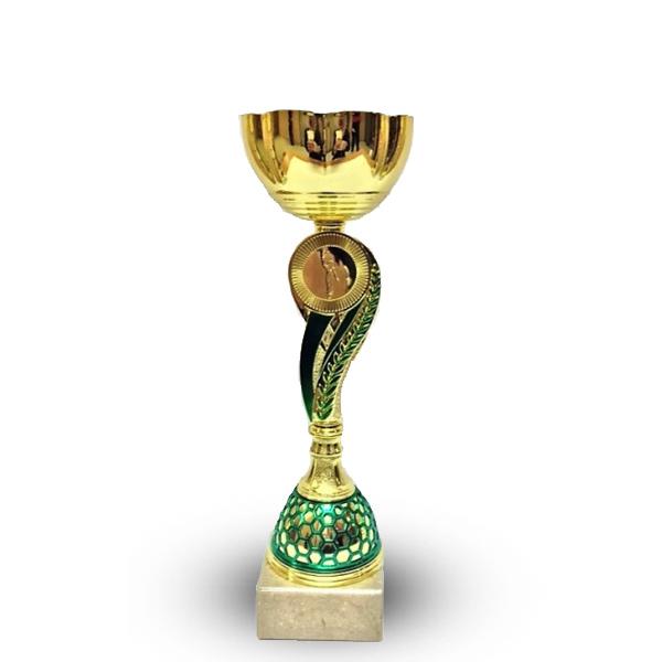 Кубок 519А чаша золото с зеленой ножкой h-33