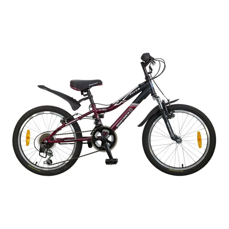 """Велосипед Novatrack 20"""" Х52106 Флайер 12 ск. стал.рама V-brake бордо-серый"""