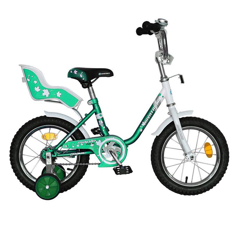 "Велосипед Novatrack 14"" Х32044 UL-тип нож,руч торм, хром.крыл,багаж зеленый"
