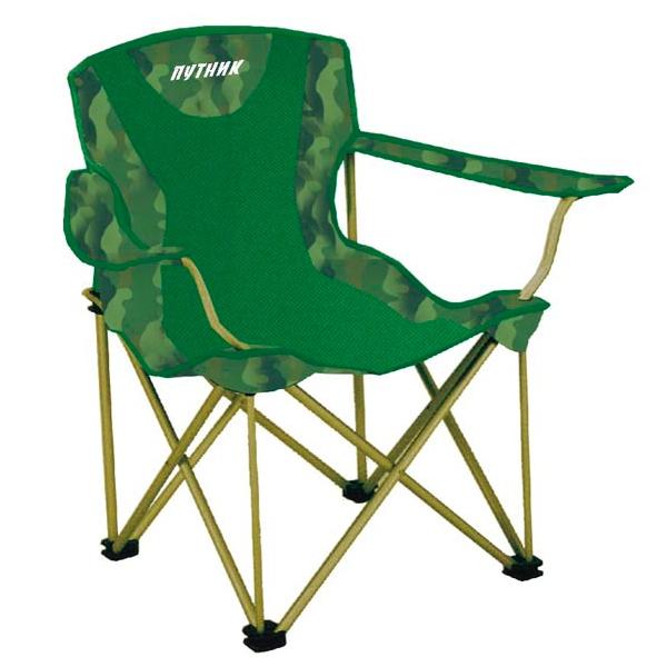 """Кресло """"Путник"""" арт. РС-030A с подстакан. зел/камуфл нагр.до100кг 60*46*41/87 см, 3,8 кг сталь/полиэ"""