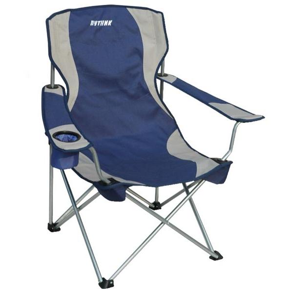 """Кресло """"Путник"""" арт. РС-020В с подстакан.сине/сер нагр.до100кг 60*46*41/87 см, 3,8 кг сталь/полиэстр"""
