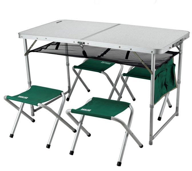 "Мебель ""Путник"" РТN-410 стол пластик/алюм 120х60х70 см + 4 табурета в чехле УЦЕНКА!!! 010817"