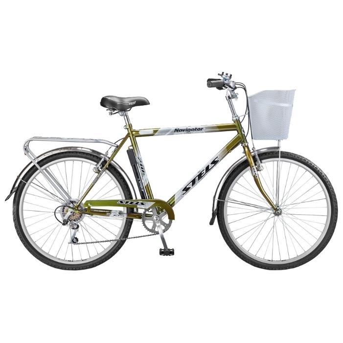 """Велосипед Stels 26"""" дорожный Navigator-210 Gent 1-ск,хром.руль,дв.алюм.обода,корз,звонок,насос"""