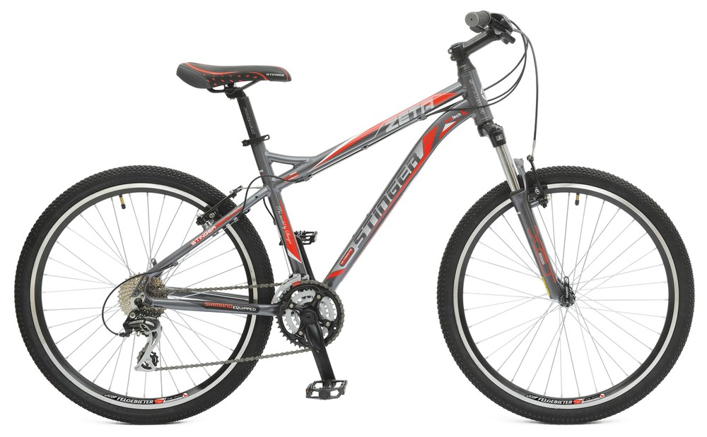 "Велосипед Stinger 26"" Х43974 Зета 24ск. алюм.рама 20д. дв.алюм.обода черн-бел-красный"