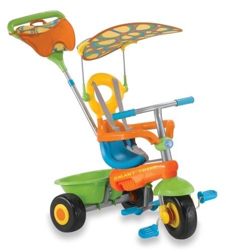 """Велосипед A22-1D трехкол, колеса надувные 10"""" и 12"""", фонарь, музыка, ручка зеленый Акция!"""