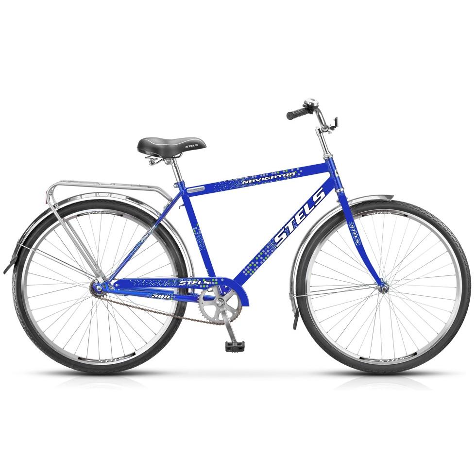 """Велосипед Stels 28"""" дорожный Navigator-300 Gent 1-ск,хром.руль,дв.алюм.обода,корз,звонок,насос"""