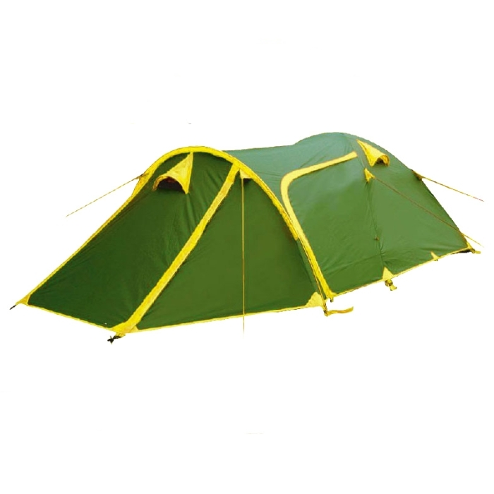 Палатка Tramp GROT 3 арт. TRT-008.04 (двухсл, водост.5000мм, 490*220*140см,3 входа, тамбур 120см)