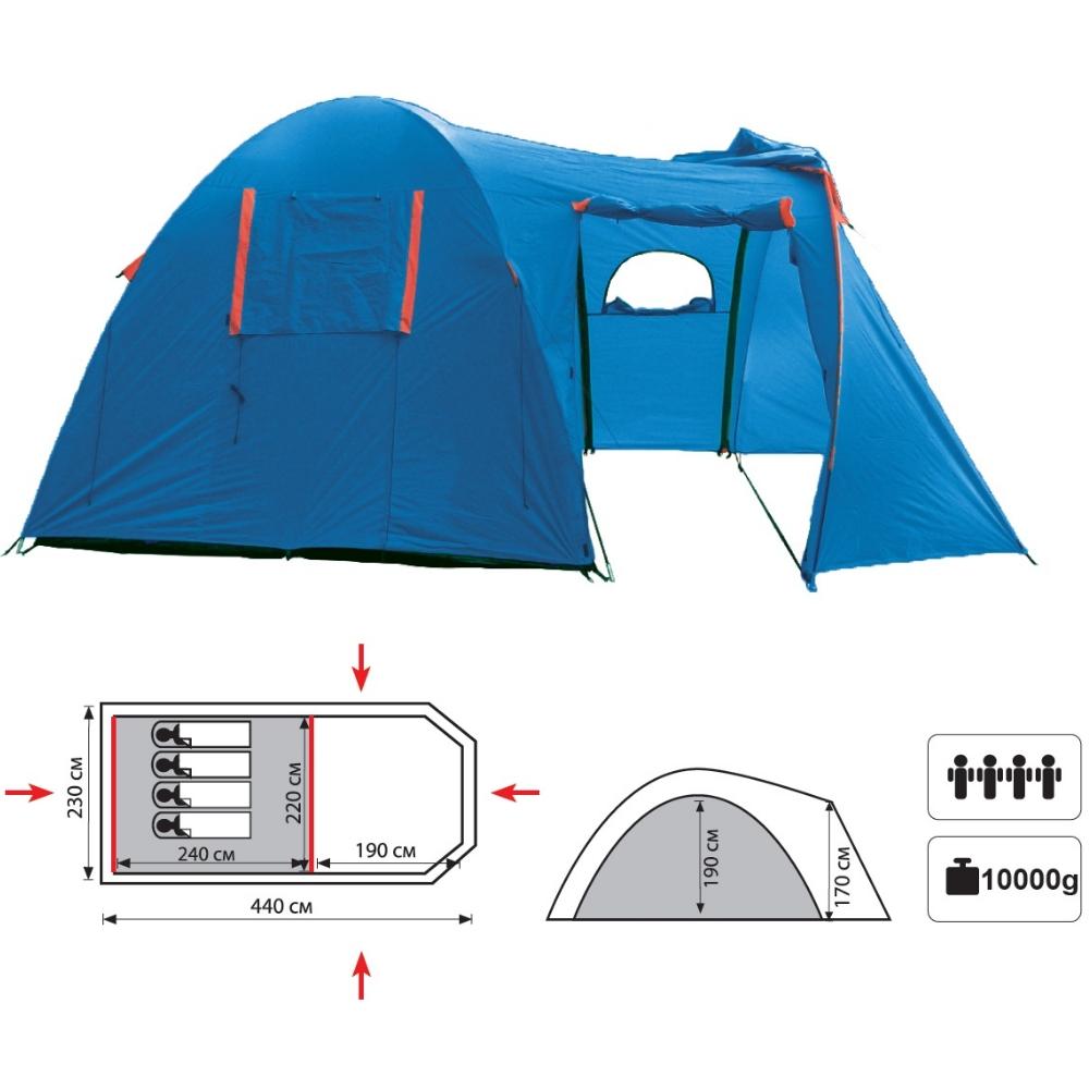 Палатка Sol CUROSHIO 4 арт.SLT-029.06 (двухсл., водост.3000мм, 440*230*190см,4 входа, тамбур 190 см)