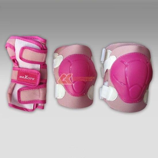 Комплект защиты роликовый MaxCity COLOR розовый р-р L