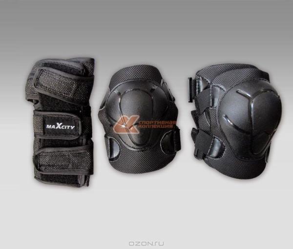 Комплект защиты роликовый MaxCity COLOR черный р-р M