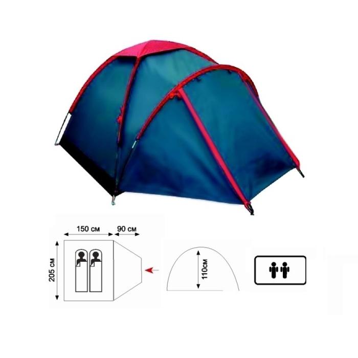 Палатка Sol FLY 2 арт.SLT-041 (односл., вод.3000мм, 205*150*110см,1 входа, тамбур 90 см) АКЦИЯ!!!