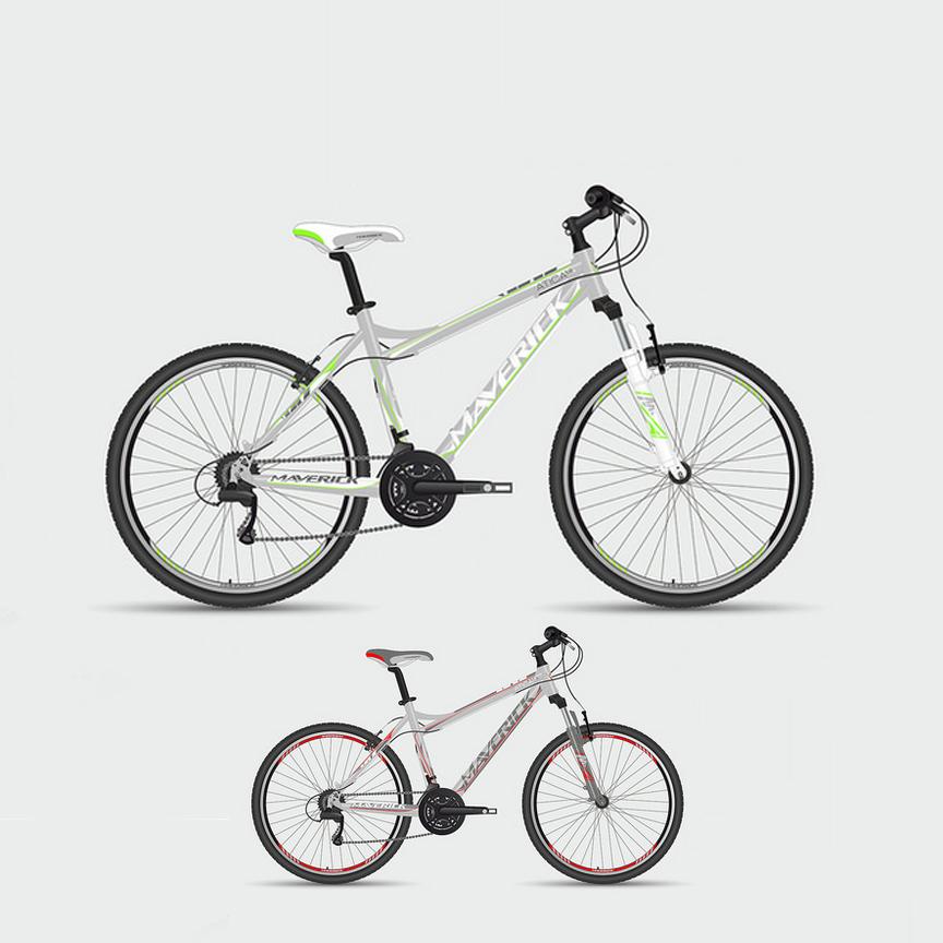 """Велосипед Maverick 26"""" Atica 1.0,горный,v-brake,рама 19.5 Alloy, 21-ск,матово-серый+черный"""