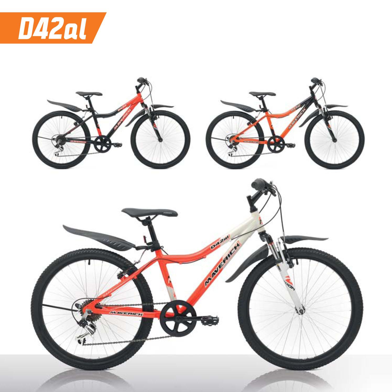 """Велосипед Maverick 24"""" D42AL,горный,v-brake,рама 14 Alloy, 6-ск,матово-оранжевый+черный"""