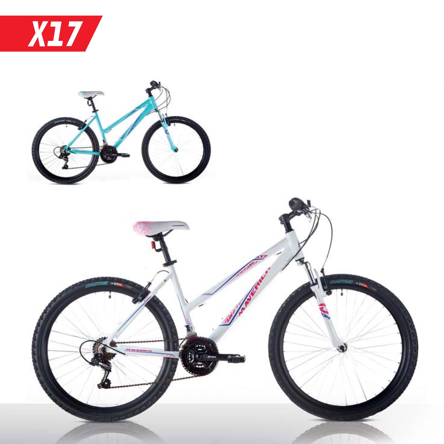 """Велосипед Maverick 26"""" X17,горный,v-brake,рама 19.5 Alloy, 18-ск,Бирюзово-розовый"""