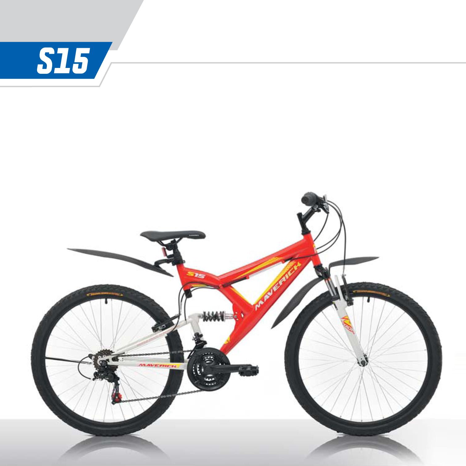 """Велосипед Maverick 26"""" Двухподвес S15,горный,v-brake,рама 18.5 Hi-ten, 21-ск,Красный+белый"""
