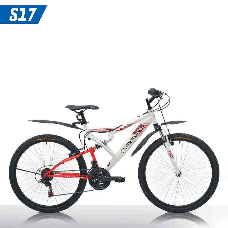 """Велосипед Maverick 26"""" Двухподвес S17,горный,v-brake,рама 18.5 Hi-ten, 21-ск,Белый+красный"""