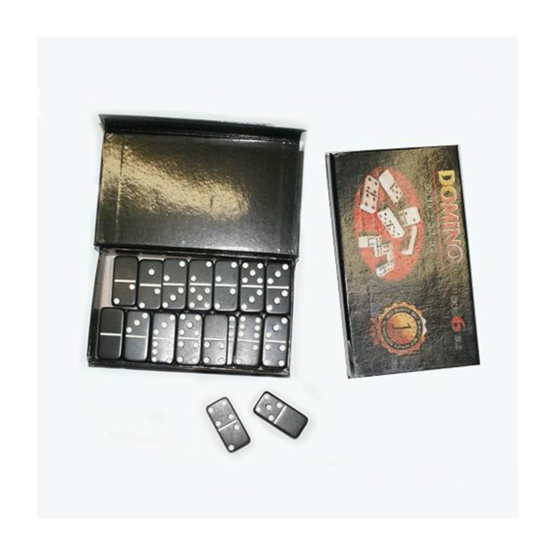 Домино в картонной коробочке. Кость чёрного цвета, размер 40х19 мм. 4010Н (09329)